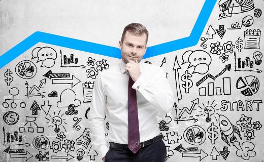 Mand foran en opadgående kurve og symboler for forretningsvækst