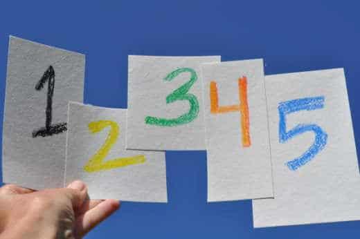 Tallene 1 til 5 i forskellige farver. på 5 stykker papir